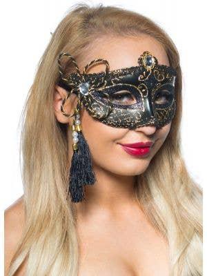 Tassel Black and Gold Venetian Masquerade Mask