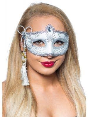 Tassel White and Silver Venetian Masquerade Mask