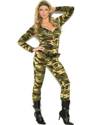 Sexy Plus Size Women's Army Jumpsuit Costume Front View