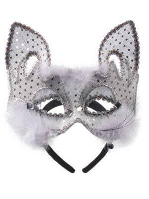 Carnival White Cat Face Masquerade Mask on Headband