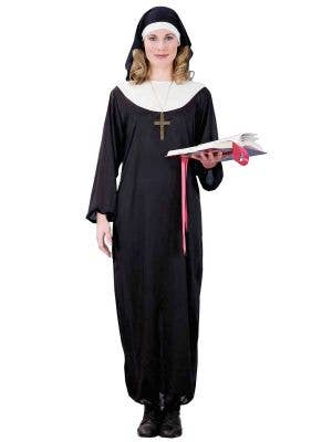 Holy Nun Women's Long Black Nun's Habit Costume Front View