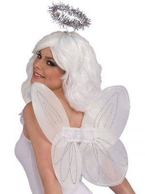 White Angel Wings and Tinsel Halo Set