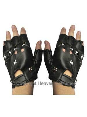 Fingerless Black Studded Punk Biker Gloves