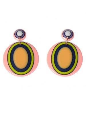 Yellow Oval Mod 60s Costume Earrings - Main Image