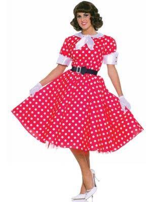 Retro Red Polka Dot Women's 50's Fancy Dress Costume Front