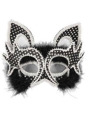 Carnival Black Cat Face Masquerade Mask on Headband