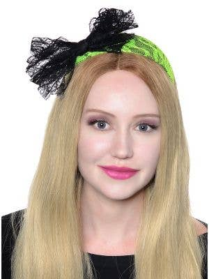 80's Neon Green Lace Headband with Black Bow