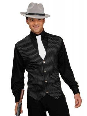 Black 1920's Gangster Men's Costume Shirt Main Image