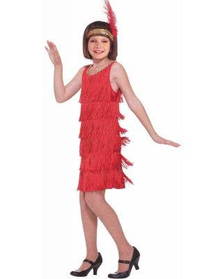 Girls 1920s Red Flapper Dress Great Gatsby Costume - Front View