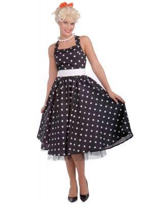 Women's Black Polka Dot Retro 50's Costume Front View