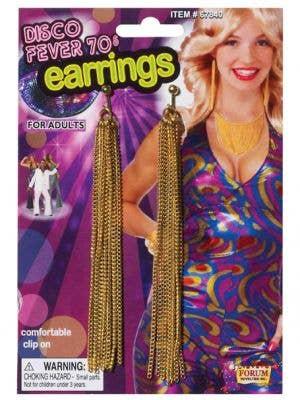 Tasselled Gold Clip On 70's Costume Earrings