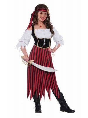 Girl's Pirate Wench Striped Buccaneer Costume Front View
