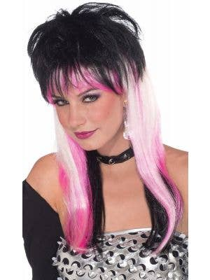Women's Long White Pink And Black Punk Rock Mullet Costume Wig Main Image