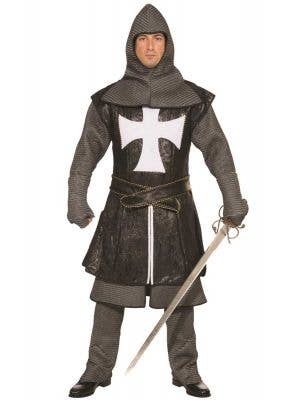 Deluxe Black Medieval Knight Men's Fancy Dress Costume