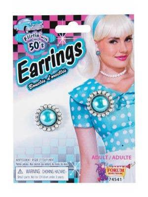 50s Dress Up Blue Stud Earrings Costume Accessory - Main Image