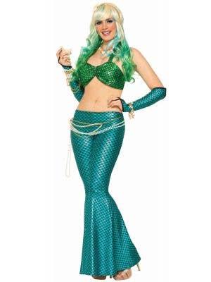 Mermaid Blue Scale Women's Fancy Dress Costume Leggings