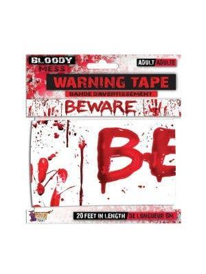 warning tape bloody halloween decoration beware banner sign decoration-Main Image