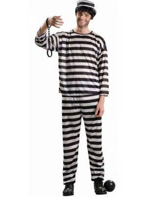 Prisoner Men's Striped Convict Fancy Dress Costume