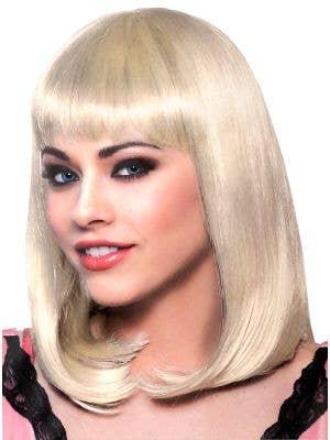 Women's Blonde Bob Costume Wig With Bangs