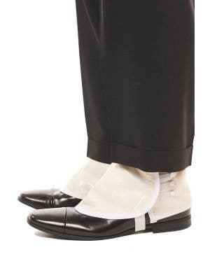 1920's White Vinyl Shoe Spats Costume Accessory