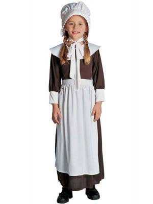 Girls Colonial Fancy Dress Costume - Front View