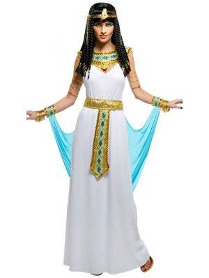Women's Sexy Blue and Gold Queen Cleopatra Egyptian Fancy Dress Costume