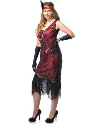 Deluxe Red and Black 1920s Gatsby Dress with Sequins and Fringing Front Image