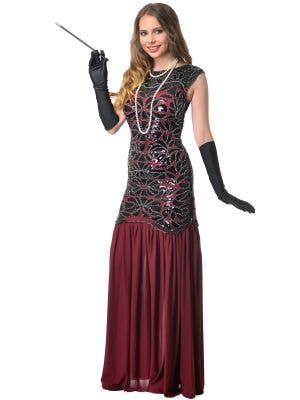 Maroon Black and Silver Deluxe Womens Beaded 1930s Hollywood Glam Costume - Main Image