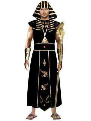 Men's Black and Gold Ancient Egyptian Pharoh Fancy Dress Costume