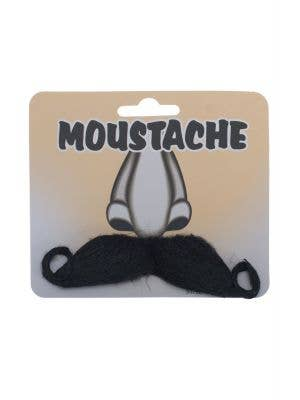 Men's Stick On Fake Black Moustache with Curled Sides