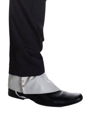 White Vinyl Gangster Shoe Spats Costume Accessory
