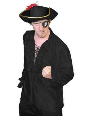 Men's Black Lace Up Front Pirate Captain Costume Shirt