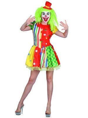 Womens Sexy Colourful Clown Fancy Dress Costume