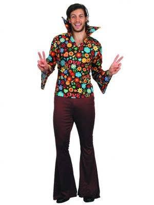 70s Floral Hippie Dress Up Costume For Men