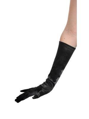 Satin Black Elbow Length Costume Gloves