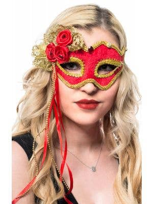 Red and Gold Velvet Masquerade Mask with Rosettes