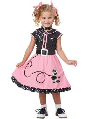 Poodle Cutie Toddler Girls 1950's Rock and Roll Costume Front View