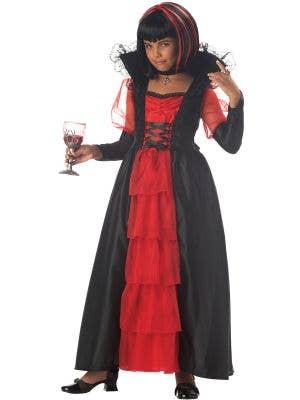 Red and Black Vampire Costume for Girls - Main Image