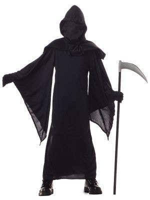 Boy's Black Death Robe Grim Reaper Halloween Costume Front