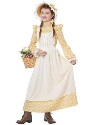 Yellow Prairie Girl's Colonial Era Costume - Main Image