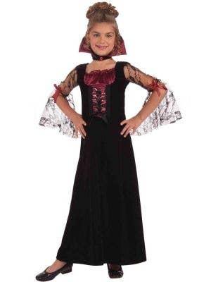 Girl's Black Vampire Fancy Dress Costume - Image 1