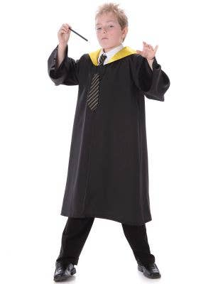 Boys Gold and Black Wizard Costume Front View
