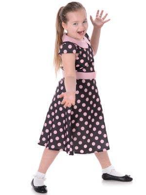 Girls 1950's Black and Pink Polka Dot Costume Main Image