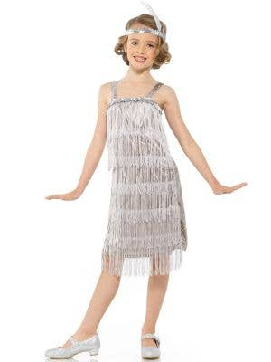 1920's Silver Fringed Flapper Girls Dress Up Costume