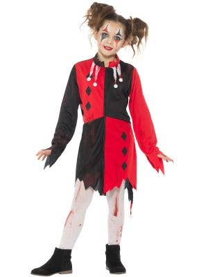Girls Zombie Harlequin Halloween Fancy Dress Costume - Image 1