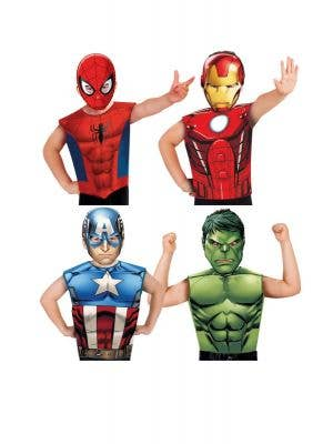 Captain America, Iron Man, Hulk And Spiderman Marvel Avengers Kids Fancy Dress Costume Kit With Mask