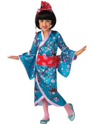 Japanese Geisha Girl's Blue and Pink Cherry Blossom Princess Dress Up Costume