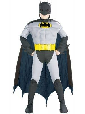 Muscle chest boys classic batman fancy dress ocstume - front view