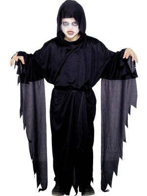 Boy's Black Grim Reaper Fancy Dress Costume Front