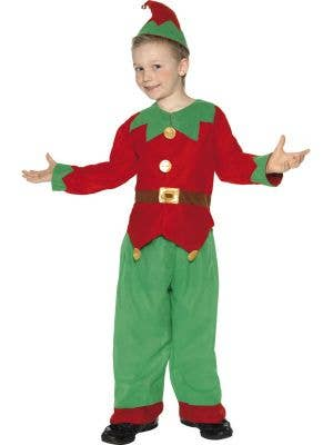 Boy's Cheap Christmas Elf Red and Green Costume Front View